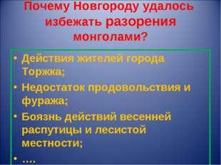 Почему Новгороду удалось избежать разорения монголами? Действия жителей город