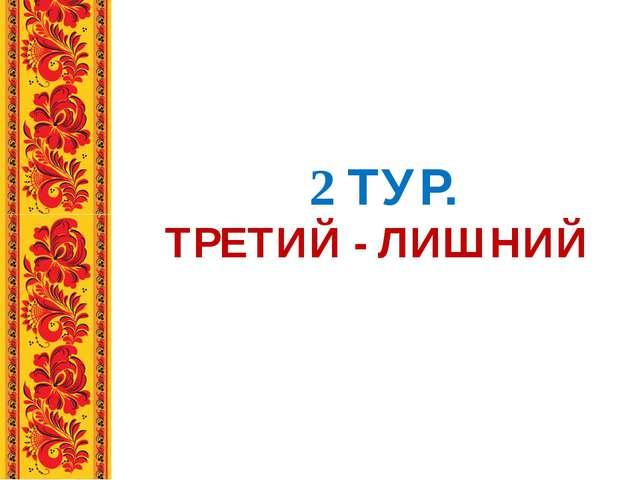 2 ТУР. ТРЕТИЙ - ЛИШНИЙ