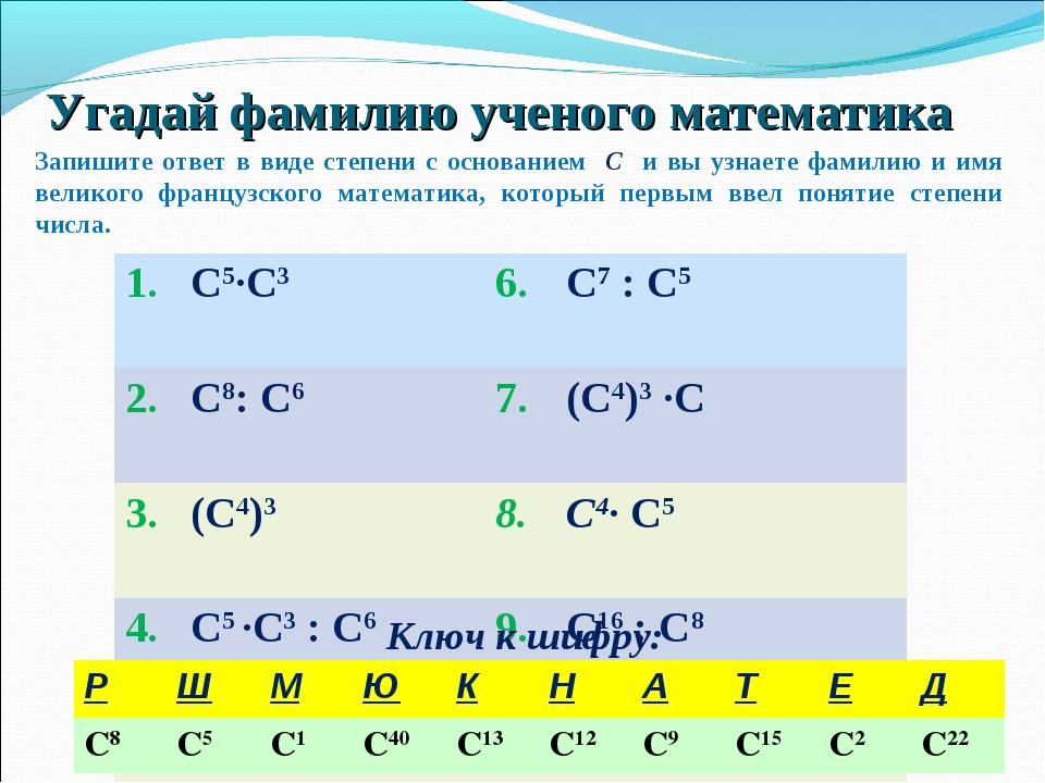Угадай фамилию ученого математика Ключ к шифру: Запишите ответ в виде степен...