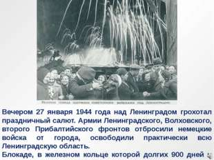 Вечером 27 января 1944 года над Ленинградом грохотал праздничный салют. Армии