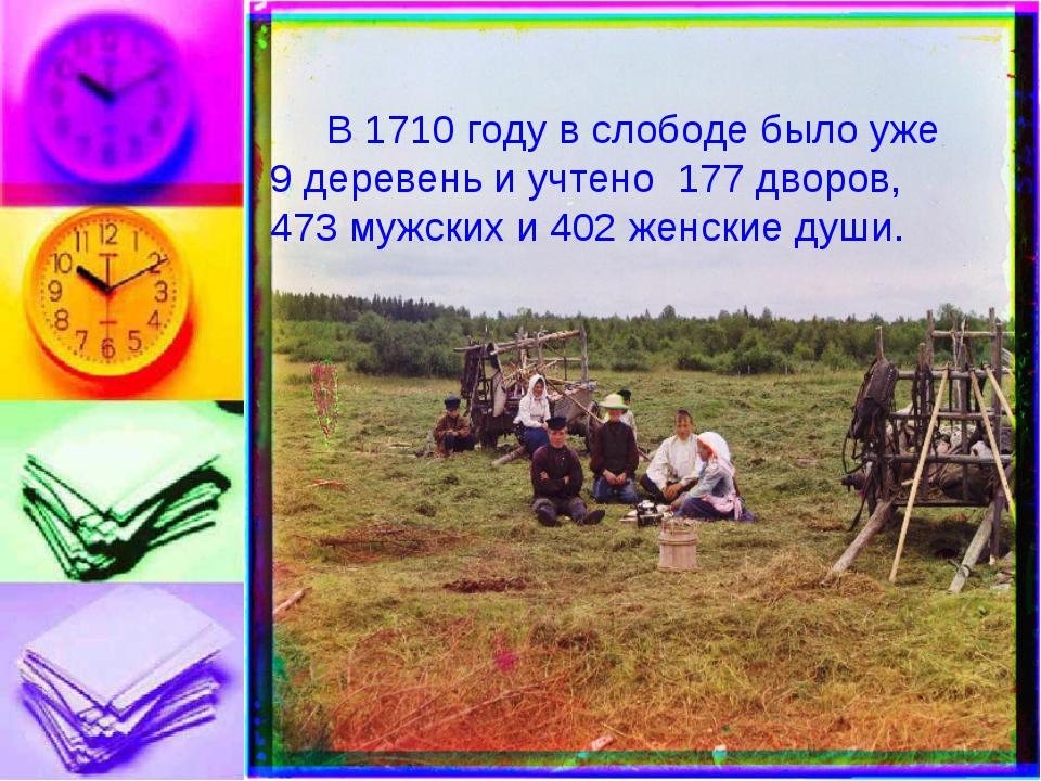 В 1710 году в слободе было уже 9 деревень и учтено 177 дворов, 473 мужских и...