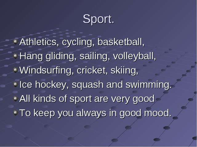 Sport. Athletics, cycling, basketball, Hang gliding, sailing, volleyball, Win...
