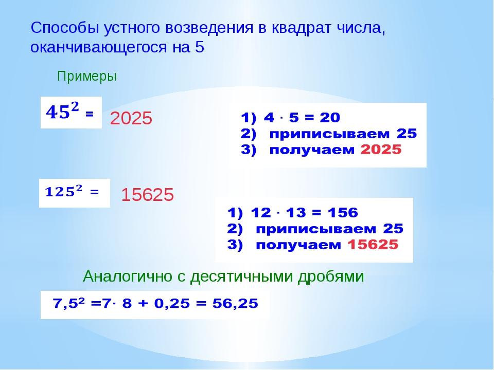 Способы устного возведения в квадрат числа, оканчивающегося на 5 Примеры 2025...