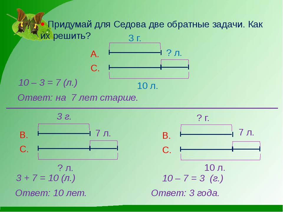  Придумай для Седова две обратные задачи. Как их решить? 10 – 3 = 7 (л.) Отв...