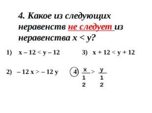 4. Какое из следующих неравенств не следует из неравенства x < y? 1) x – 12 <