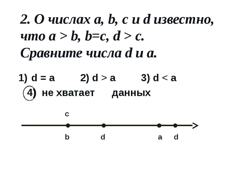 2. О числах a, b, c и d известно, что a > b, b=c, d > c. Сравните числа d и a...