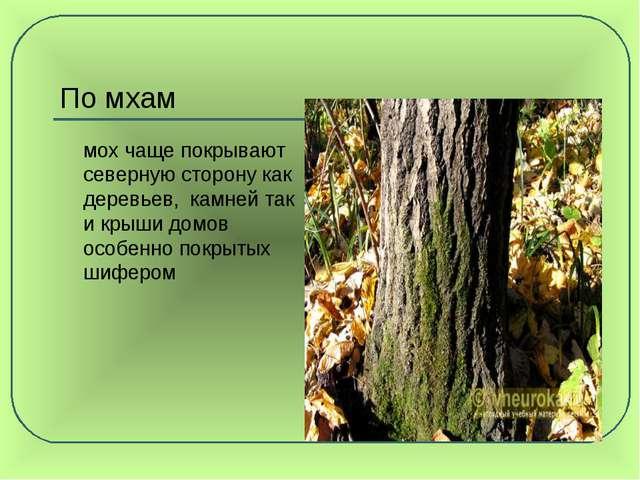 По мхам мох чаще покрывают северную сторону как деревьев, камней так и крыши...