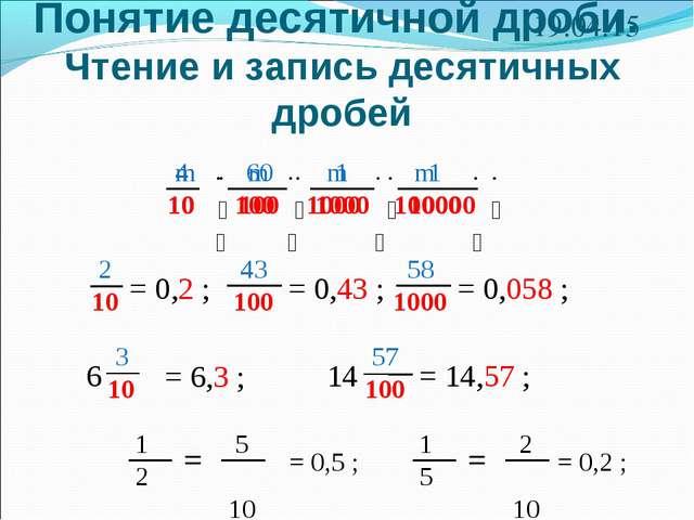 Понятие десятичной дроби. Чтение и запись десятичных дробей * 2 10 = 0,2 ; 43...