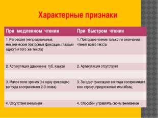 Характерные признаки При медленном чтении Прибыстром чтении 1. Регрессия (неп