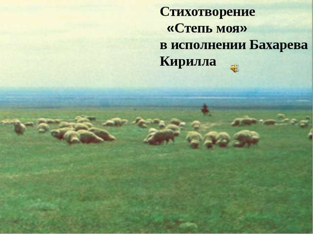 Стихотворение «Степь моя» в исполнении Бахарева Кирилла