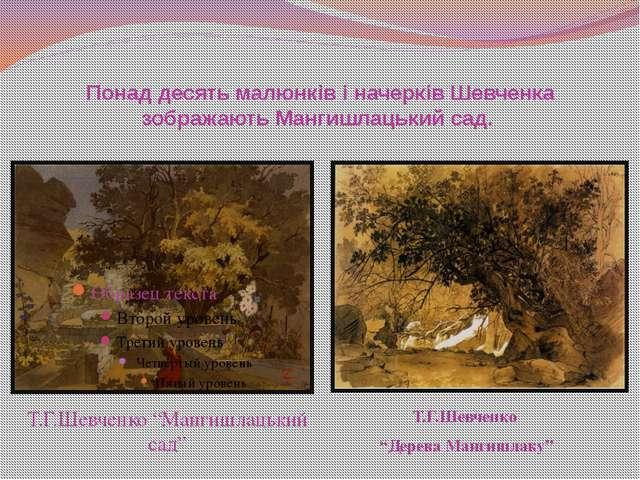 Понад десять малюнків і начерків Шевченка зображають Мангишлацький сад. Т.Г....