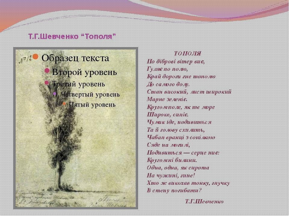 """Т.Г.Шевченко """"Тополя"""" ТОПОЛЯ По діброві вітер виє, Гуляє по полю, Край дорог..."""