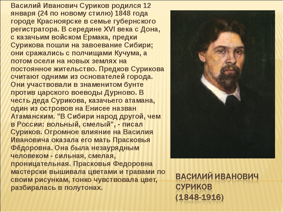Василий Иванович Суриков родился 12 января (24 по новому стилю) 1848 года гор...