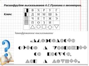 Расшифруйте высказывание А.С.Пушкина о геометрии. Ключ:
