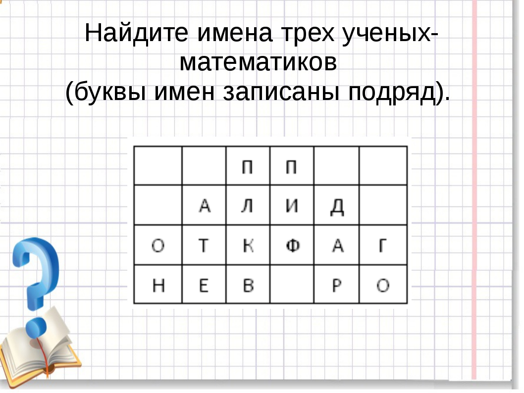Найдите имена трех ученых-математиков (буквы имен записаны подряд).