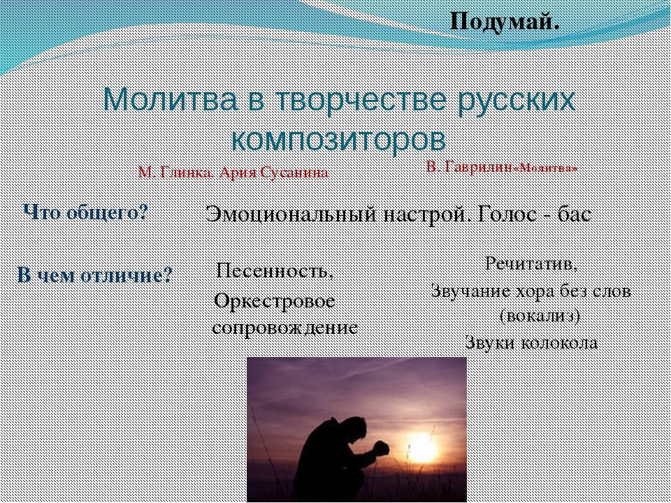 Молитва в творчестве русских композиторов М. Глинка. Ария Сусанина Эмоциональ...