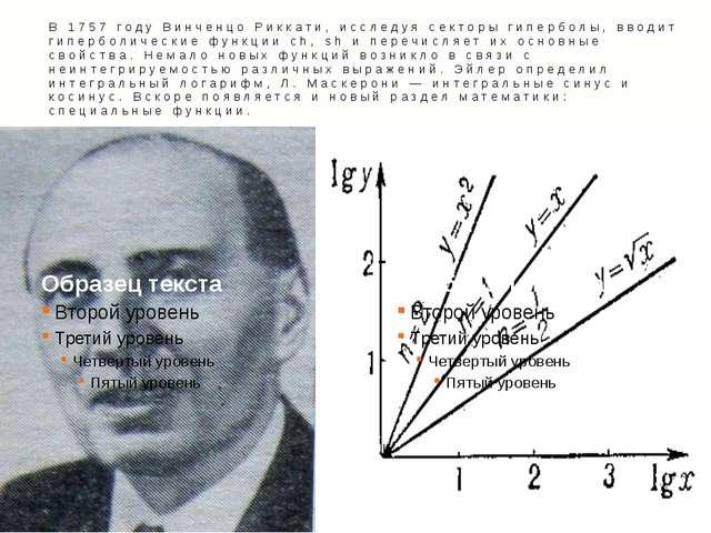 В 1757 году Винченцо Риккати, исследуя секторы гиперболы, вводит гиперболичес...