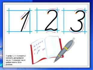 З цифр 1, 2, 3 утворіть і запишіть двоцифрові числа. У кожному числі цифри ма
