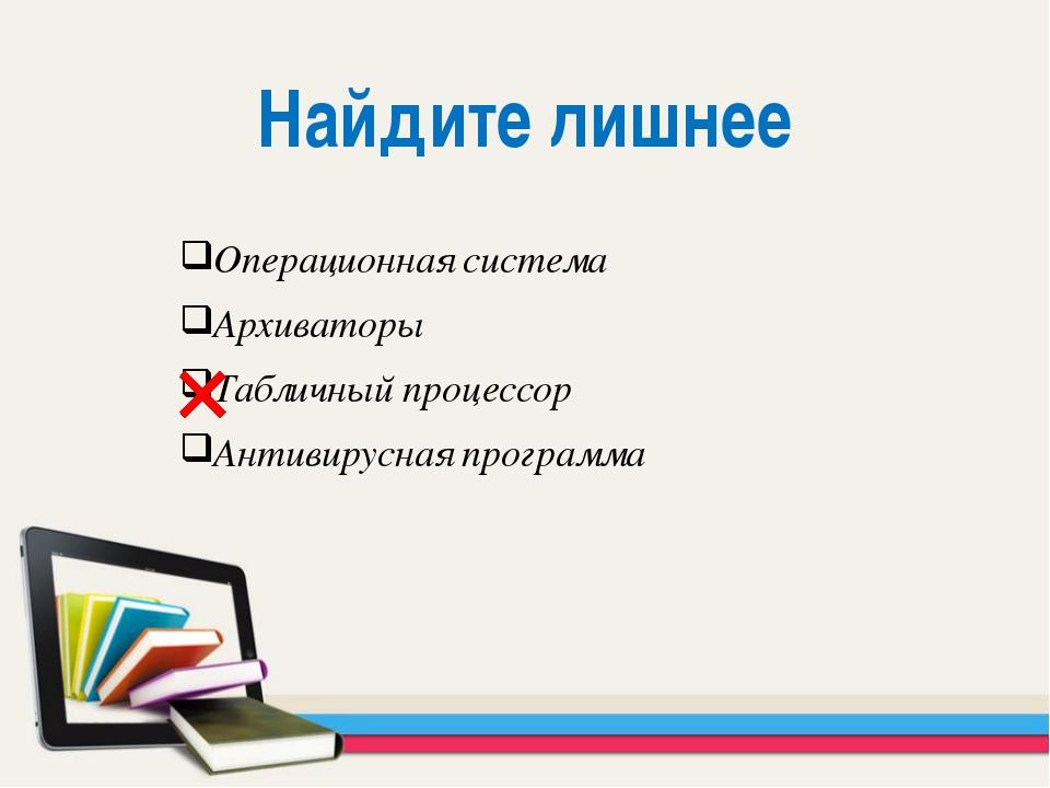 Операционная система Архиваторы Табличный процессор Антивирусная программа На...