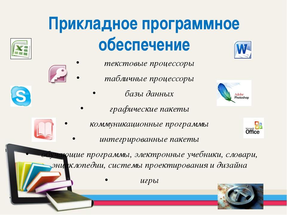 текстовые процессоры табличные процессоры базы данных графические пакеты комм...