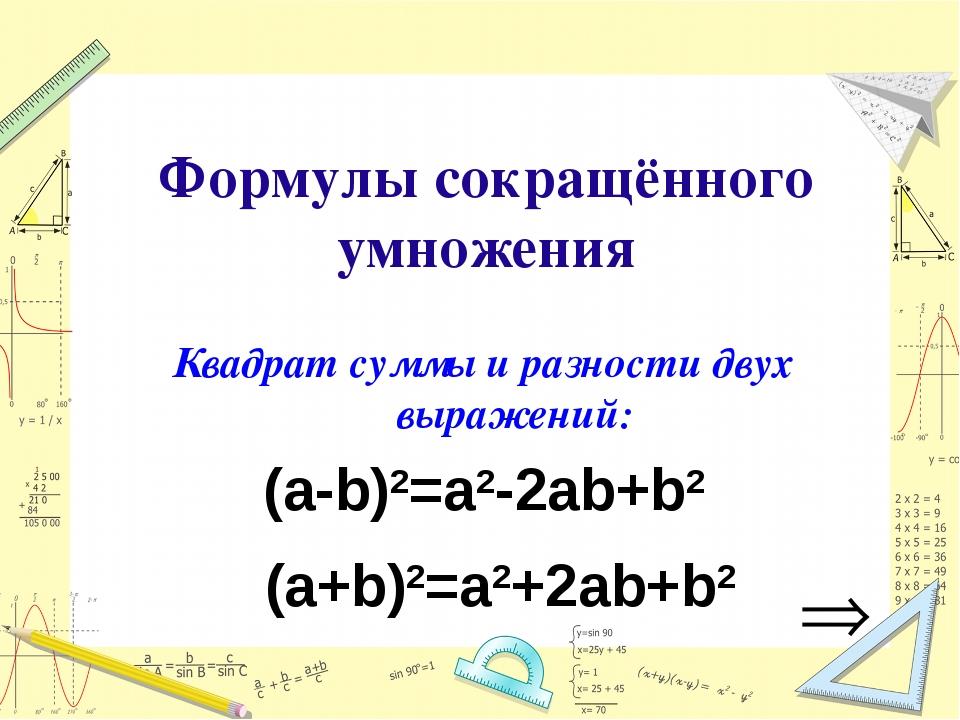 Формулы сокращённого умножения Квадрат суммы и разности двух выражений: (а-b)...