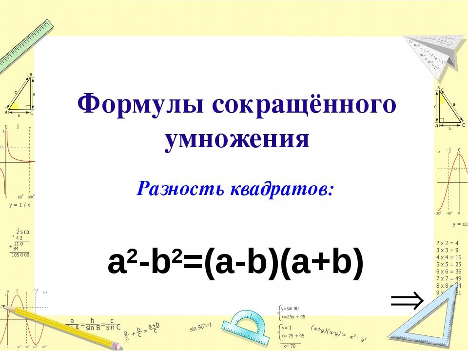 Формулы сокращённого умножения Разность квадратов: a2-b2=(a-b)(a+b)