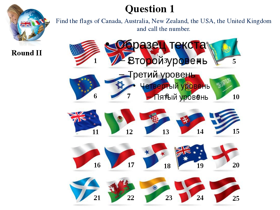 Question 1 Round II Find the flags of Canada, Australia, New Zealand, the USA...