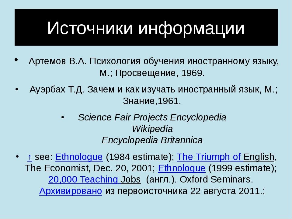 Источники информации Артемов В.А. Психология обучения иностранному языку, М.;...