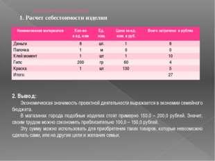 Экономическая оценка 1. Расчет себестоимости изделия 2. Вывод: Экономическая