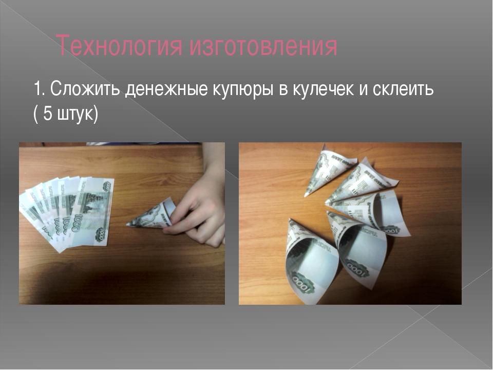 Технология изготовления 1. Сложить денежные купюры в кулечек и склеить ( 5 шт...