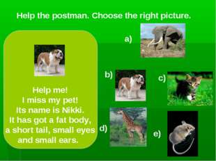 Help the postman. Choose the right picture. a) c) d) e) Help me! I miss my pe