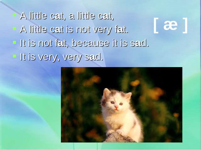 A little cat, a little cat, A little cat is not very fat. It is not fat, beca...