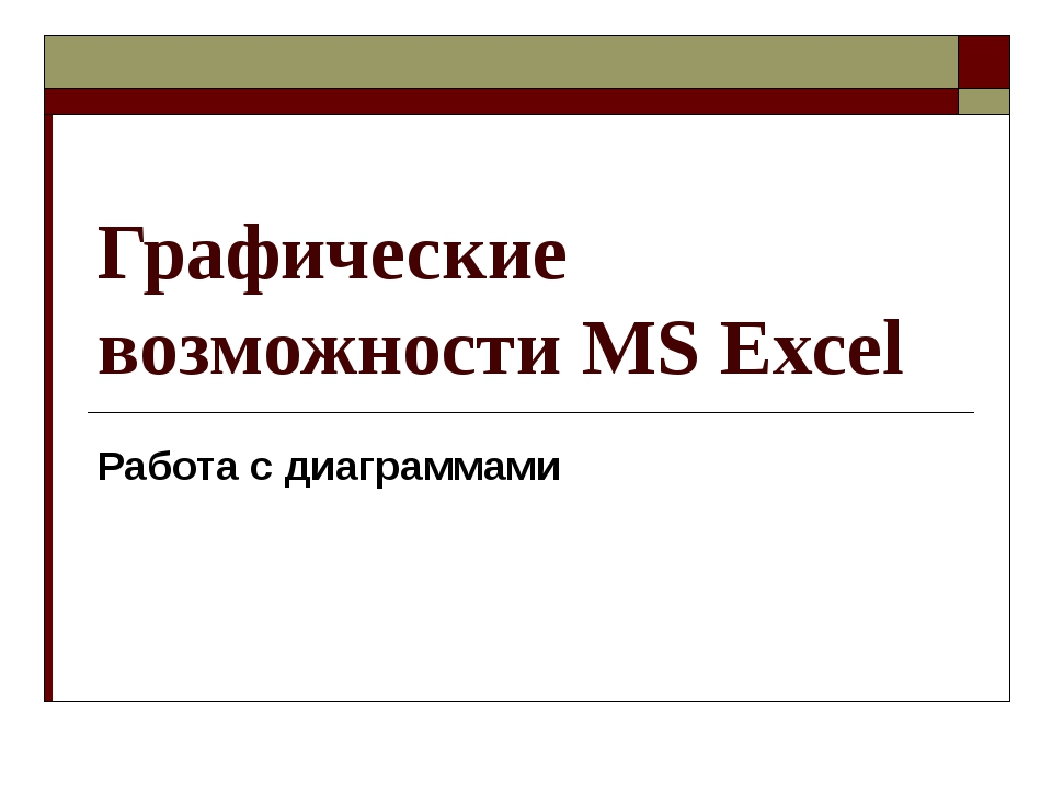 Графические возможности MS Excel Работа с диаграммами