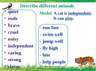 Describe different animals quiet rude brave cruel noisy independent caring st