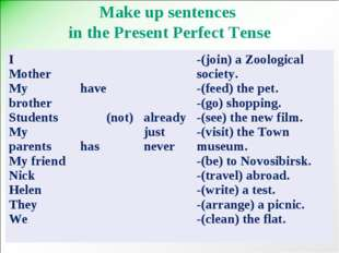 Make up sentences in the Present Perfect Tense I Mother My brother Students M