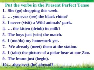 Put the verbs in the Present Perfect Tense She (go) shopping this week. … you