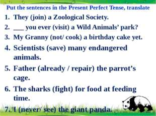 Put the sentences in the Present Perfect Tense, translate They (join) a Zoolo