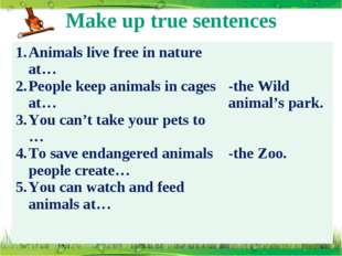 Make up true sentences Animals live free in nature at… People keep animals in