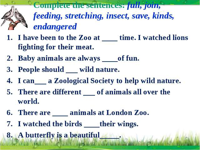 Complete the sentences: full, join, feeding, stretching, insect, save, kinds,...