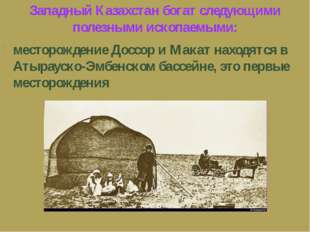 Западный Казахстан богат следующими полезными ископаемыми: месторождение Дос