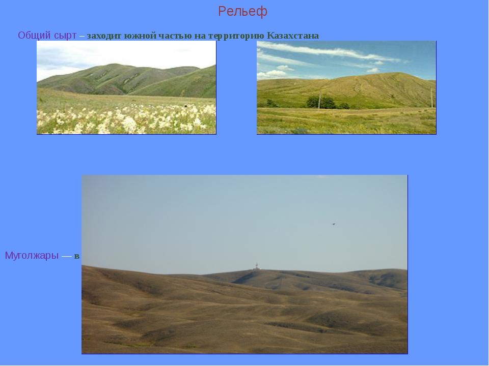 Рельеф Общий сырт – заходит южной частью на территорию Казахстана Муголжары...