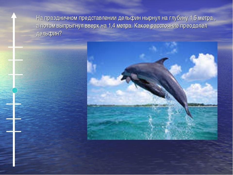На праздничном представлении дельфин нырнул на глубину 1,5 метра , а потом вы...