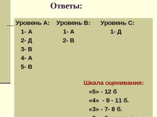 Ответы: Уровень А: Уровень В: Уровень С: 1- А 1- А 1- Д 2- Д 2- В 3- В 4- А