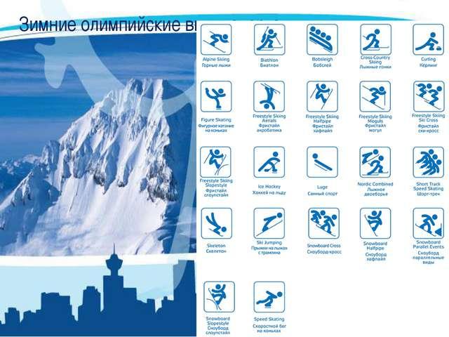 Зимние олимпийские виды спорта