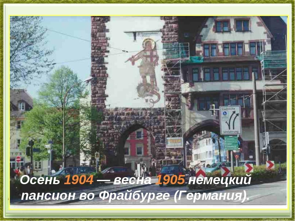 Осень 1904— весна 1905немецкий пансион воФрайбурге (Германия).