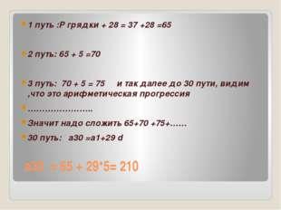 а30 = 65 + 29*5= 210 1 путь :Р грядки + 28 = 37 +28 =65 2 путь: 65 + 5 =70 3