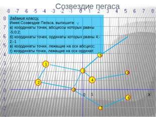 Созвездие пегаса 1 8 7 4 2 3 1 5 6 9 0 X Y Задание классу. Имея Созвездие Пег
