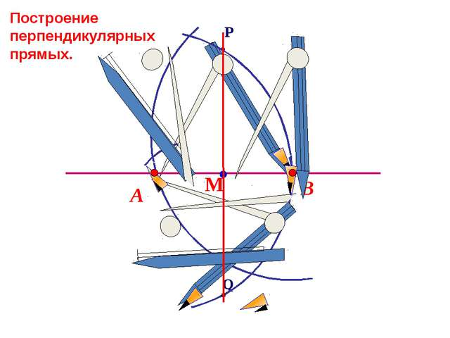 В А Построение перпендикулярных прямых. Q P М