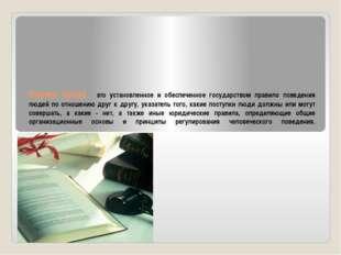 Норма права - это установленное и обеспеченное государством правило поведения