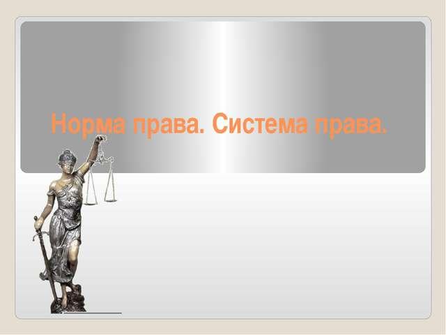 Норма права. Система права.